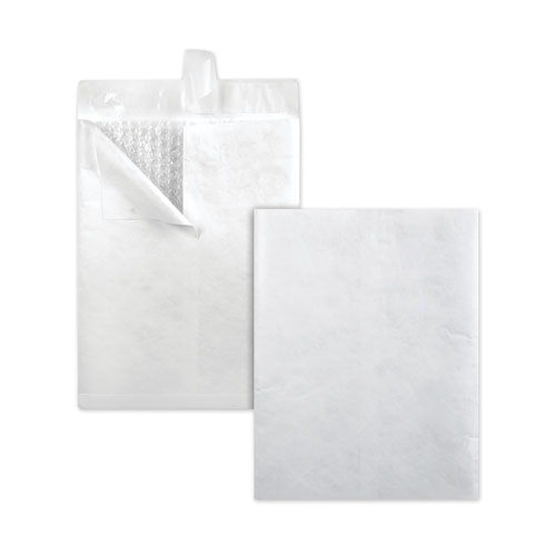 Bubble Mailer, DuPont Tyvek, 13 1/2, Square Flap, Redi-Strip Closure, 10 x 13, White, 25/Box