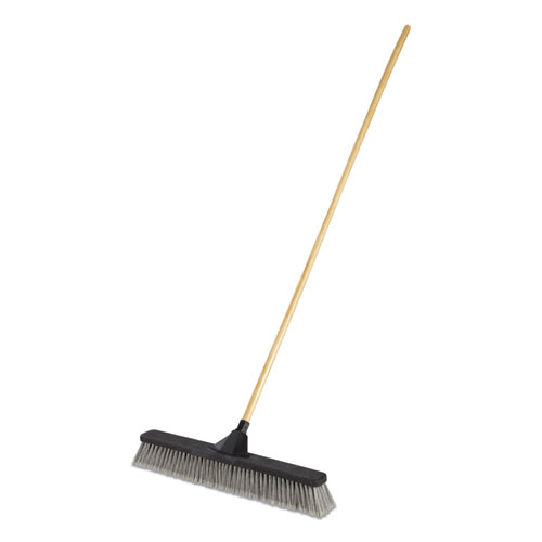 Push Brooms, 24 Brush, PET Bristles, For Fine Debris, 62 Wood Handle, Black