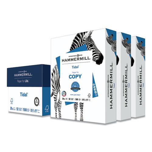 Tidal Print Paper, 92 Bright, 20lb, 8.5 x 11, White, 500 Sheets/Ream, 3 Reams/Carton