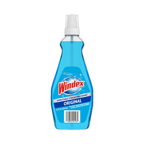 Windex® RTU Ammonia-D Glass Cleaner, Neutral, 12oz, Pump Bottle, 12/Carton