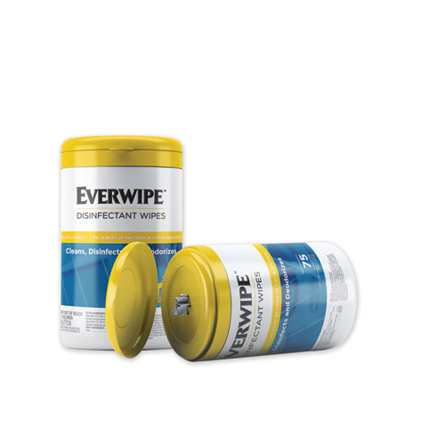 Everwipe Disinfectant Wipes, 7 x 7, 75/Bag, 6 Bags/Carton