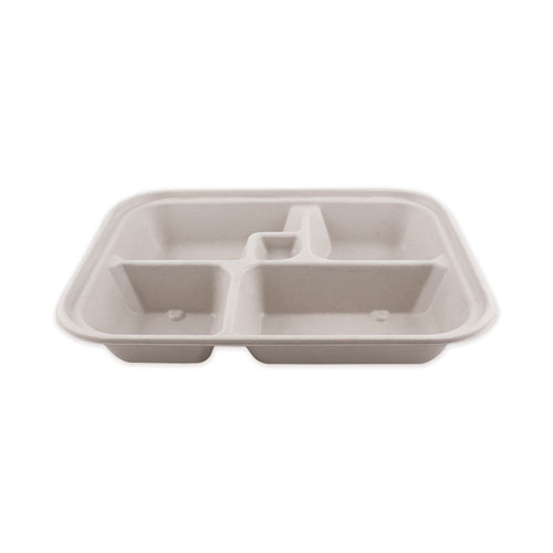 Fiber Bento Box Containers, Five Compartments, 11.8 x 9.4 x 2, Natural, 300/Carton