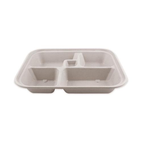 Fiber Bento Box Containers, Five Compartments, 11.8 x 9.4 x 2, Natural, 300/Carton