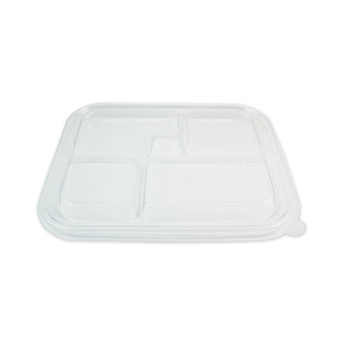 Fiber Bento Box Container Lids, Five Compartments, 12.1 x 9.8 x 0.8, Clear, 300/Carton