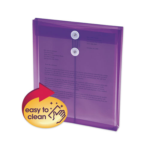Poly String and Button Interoffice Envelopes, String and Button Closure, 9.75 x 11.63, Transparent Purple, 5/Pack