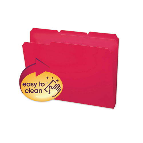 Top Tab Poly Colored File Folders, 1/3-Cut Tabs, Letter Size, Red, 24/Box