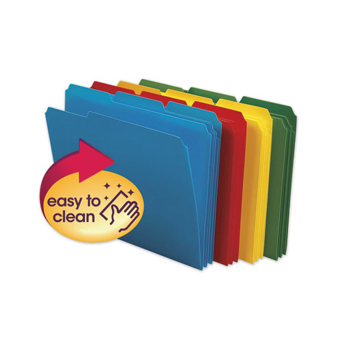 Top Tab Poly Colored File Folders, 1/3-Cut Tabs, Letter Size, Assorted, 24/Box