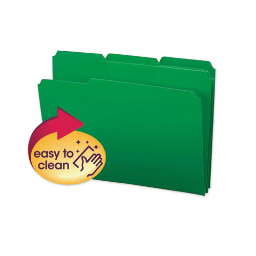 Top Tab Poly Colored File Folders, 1/3-Cut Tabs, Letter Size, Green, 24/Box