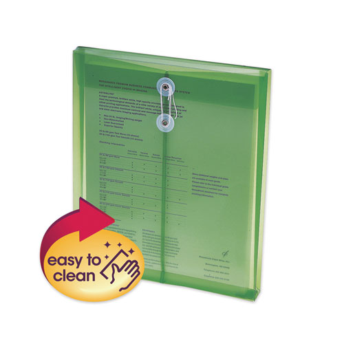 Poly String and Button Interoffice Envelopes, String and Button Closure, 9.75 x 11.63, Transparent Green, 5/Pack