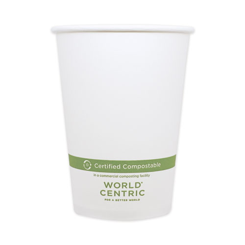"World Centric® Paper Bowls, 32 oz, 4.4"" Diameter x 5.8""h, White, 500/Carton"