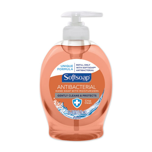 Antibacterial Hand Soap, Crisp Clean, Orange, 5.5 oz Pump Bottle, 12/Carton