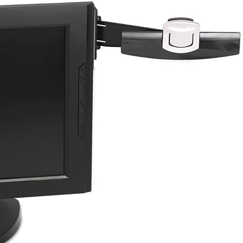 Swing Arm Copyholder, Adhesive Monitor Mount, Plastic, 30 Sheet Capacity, Black
