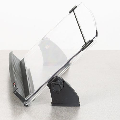 In-Line Adjustable Desktop Copyholder, Plastic, 150 Sheet Capacity, Black/Clear