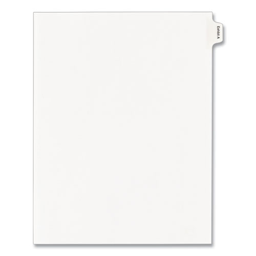 Allstate-Style Legal Side Tab Dividers, Exhibit A, Letter, White, 25/Pack