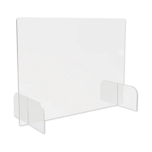 """deflecto® Counter Top Barrier with Full Shield and Feet, 31"""" x 14"""" x 23"""", Polycarbonate, Clear, 2/Carton"""