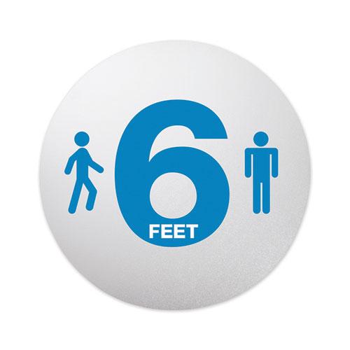 Personal Spacing Discs, 6 Feet Apart, 20 dia, Clear/Medium Blue, 6/Pack