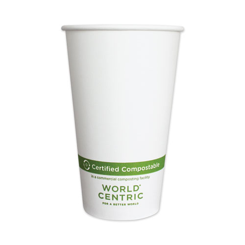 Paper Hot Cups, 16 oz, White, 1,000/Carton