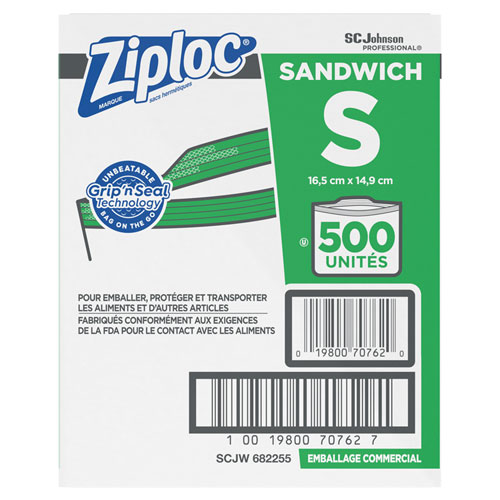 "Ziploc® Resealable Sandwich Bags, 1.2 mil, 6.5"" x 6"", Clear, 500/Box"