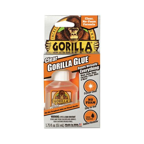 Clear Gorilla Glue, 1.75 oz, Dries Clear, 4/Carton