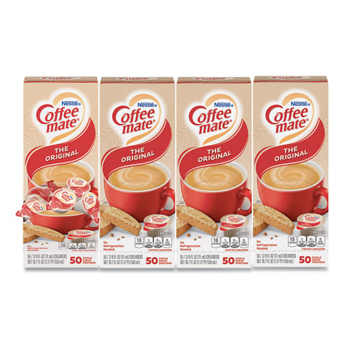 Liquid Coffee Creamer, Original, 0.38 oz Mini Cups, 50/Box, 4 Boxes/Carton, 200 Total/Carton