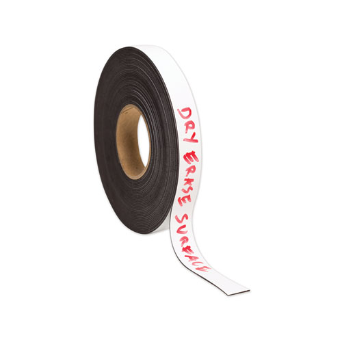 Dry Erase Magnetic Tape Roll, 1 x 50 ft, White, 1/Roll