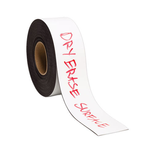 Dry Erase Magnetic Tape Roll, 3 x 50 ft, White, 1/Roll