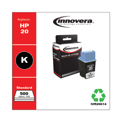 Remanufactured Black Ink, Replacement for HP 20 (C6614DN), 500 Page-Yield