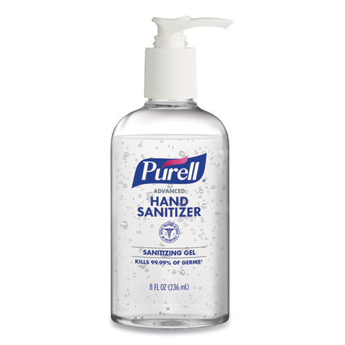 Purell Advanced Gel Hand Sanitizer, 8 oz Pump Bottle