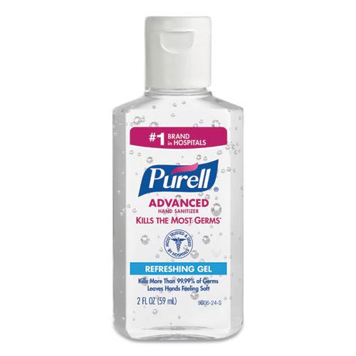 Advanced Hand Sanitizer Gel, 2 oz Flip Cap Bottle, 24/Carton