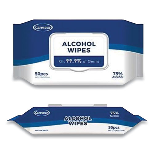 Personal Alcohol Wipes, White, 50/Pack, 24 Packs/Carton
