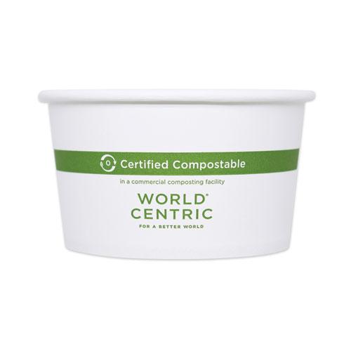 "World Centric® Paper Bowls, 12 oz, 4.5"" Diameter x 2.5""h,  White, 500/Carton"