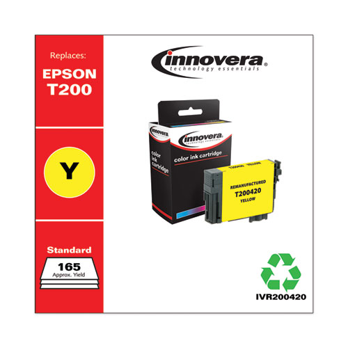 Remanufactured Yellow Ink, Replacement for Epson T200 (T200420), 165 Page-Yield