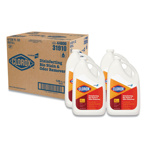 Clorox® Disinfecting Bio Stain and Odor Remover, Fragranced, 128 oz Refill Bottle, 4/CT