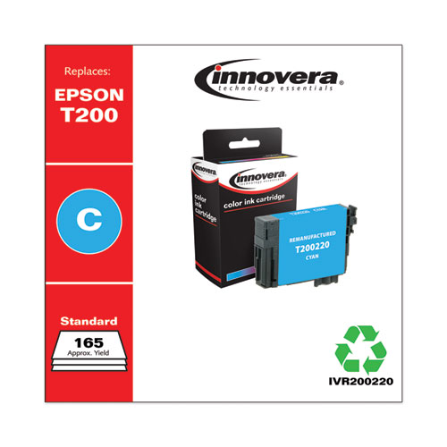 Remanufactured Cyan Ink, Replacement for Epson T200 (T200220), 165 Page-Yield