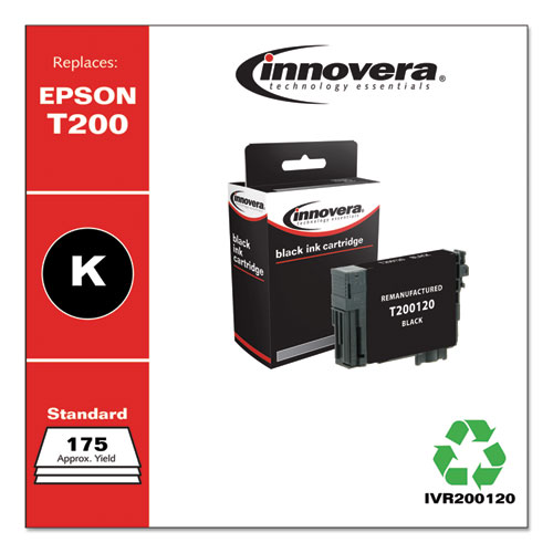 Remanufactured Black Ink, Replacement for Epson T200 (T200120), 175 Page-Yield