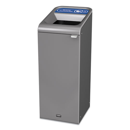 Configure Indoor Recycling Waste Receptacle, 15 gal, Gray, Mixed Recycling