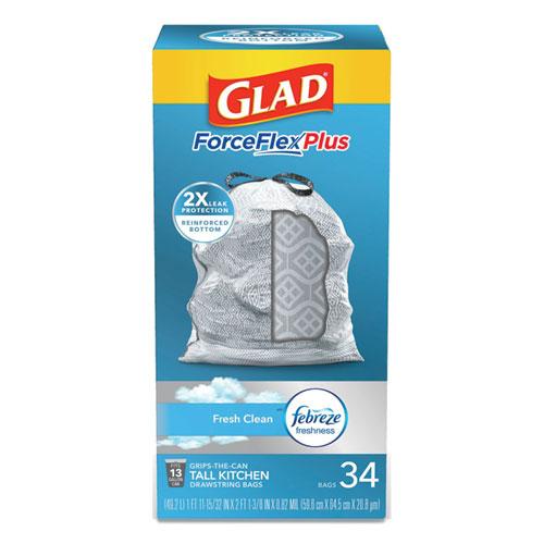 "Glad® ForceFlexPlus OdorShield Tall Kitchen Drawstring Trash Bags, 13 gal, 0.9 mil, 24"" x 28"", White, 204/Carton"
