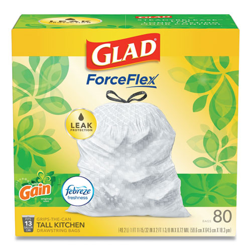 "Glad® OdorShield Tall Kitchen Drawstring Bags, 13 gal, 0.95 mil, 24"" x 27.38"", White, 80/Box"