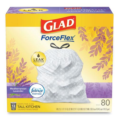 "Glad® OdorShield Tall Kitchen Drawstring Bags, 13 gal, 0.78 mil, 24"" x 27.38"", White, 240/Carton"
