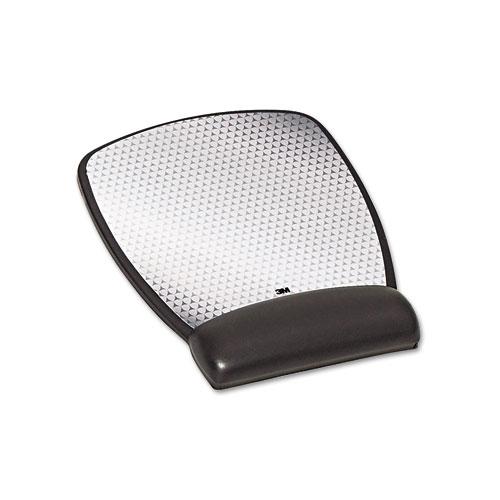 Precise Leatherette Mouse Pad w/Standard Wrist Rest, 6-3/4 x 8-3/5, Black | by Plexsupply