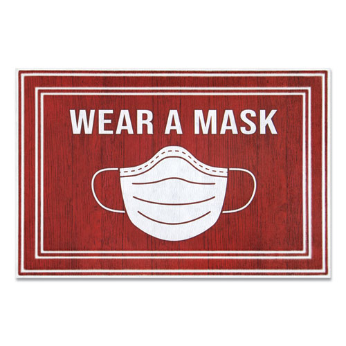Message Floor Mats, 24 x 36, Red/White, Wear A Mask