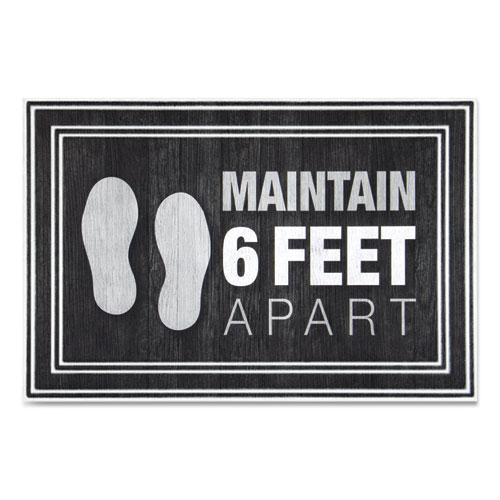 Message Floor Mats, 24 x 36, Charcoal, Maintain 6 Feet Apart