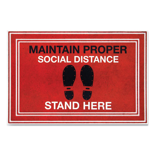 Message Floor Mats, 24 x 36, Red/Black, Maintain Social Distance Stand Here