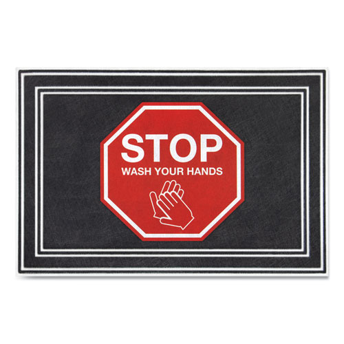 Message Floor Mats, 24 x 36, Charcoal/Red, Stop Wash Your Hands