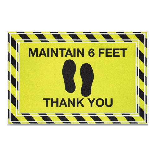 Message Floor Mats, 24 x 36, Black/Yellow, Maintain 6 Feet Thank You
