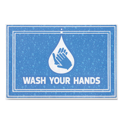 """Apache Mills® Message Floor Mats, 24 x 36, Blue, """"Wash Your Hands"""""""