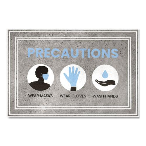 Message Floor Mats, 24 x 36, Gray/Blue, Precautions Wear Masks Wear Gloves Wash Hands