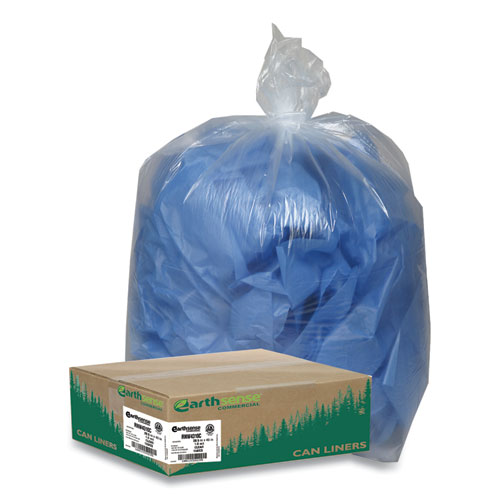 "Earthsense® Commercial Linear Low Density Clear Recycled Can Liners, 23 gal, 1.25 mil, 28.5"" x 43"", Clear, 150/Carton"