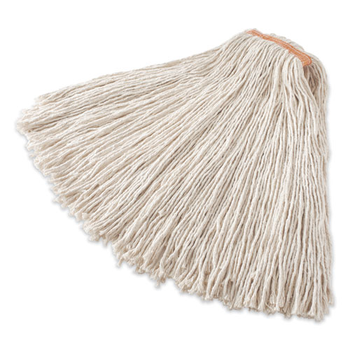 Non-Launderable Cotton/Synthetic Cut-End Wet Mop Heads, 32 oz, 1 Band, Red