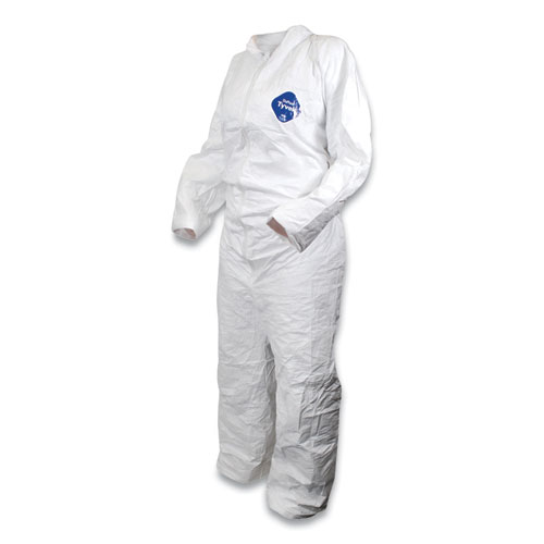 DuPont Tyvek Disposable Coverall, Large, White, 25/Carton